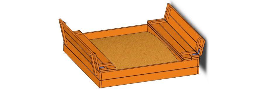 Sandkasten mit Sitzbank und Deckel