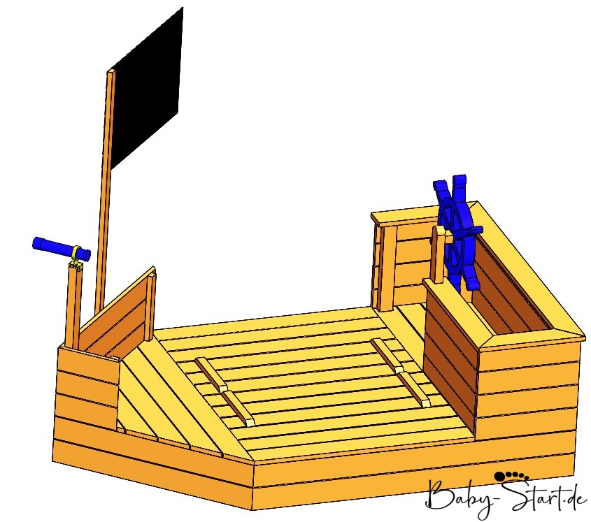 sandkasten piratenschiff geschlossen mit logo - Sandkasten Piratenschiff DIY 2021: Die ultimative Bauanleitung inkl. kostenlosem Download