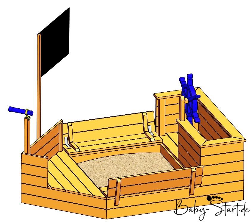 sandkasten piratenschiff mit logo - Sandkasten Piratenschiff DIY 2021: Die ultimative Bauanleitung inkl. kostenlosem Download