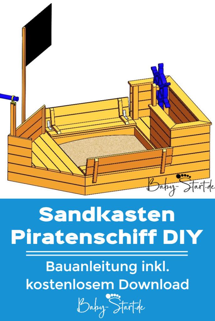 sandkasten piratenschiff pinterest 686x1024 - Sandkasten Piratenschiff DIY 2021: Die ultimative Bauanleitung inkl. kostenlosem Download